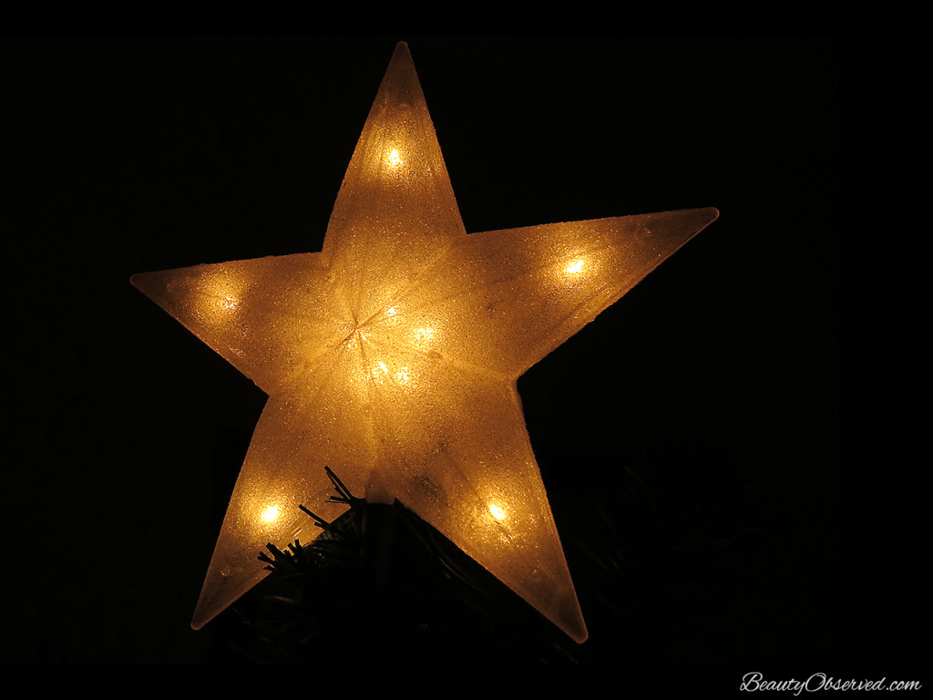 Visit BeautyObserved.com for a little bit of respite in this busy world. Beautiful photography and inspirational memes. star tree topper #Christmas