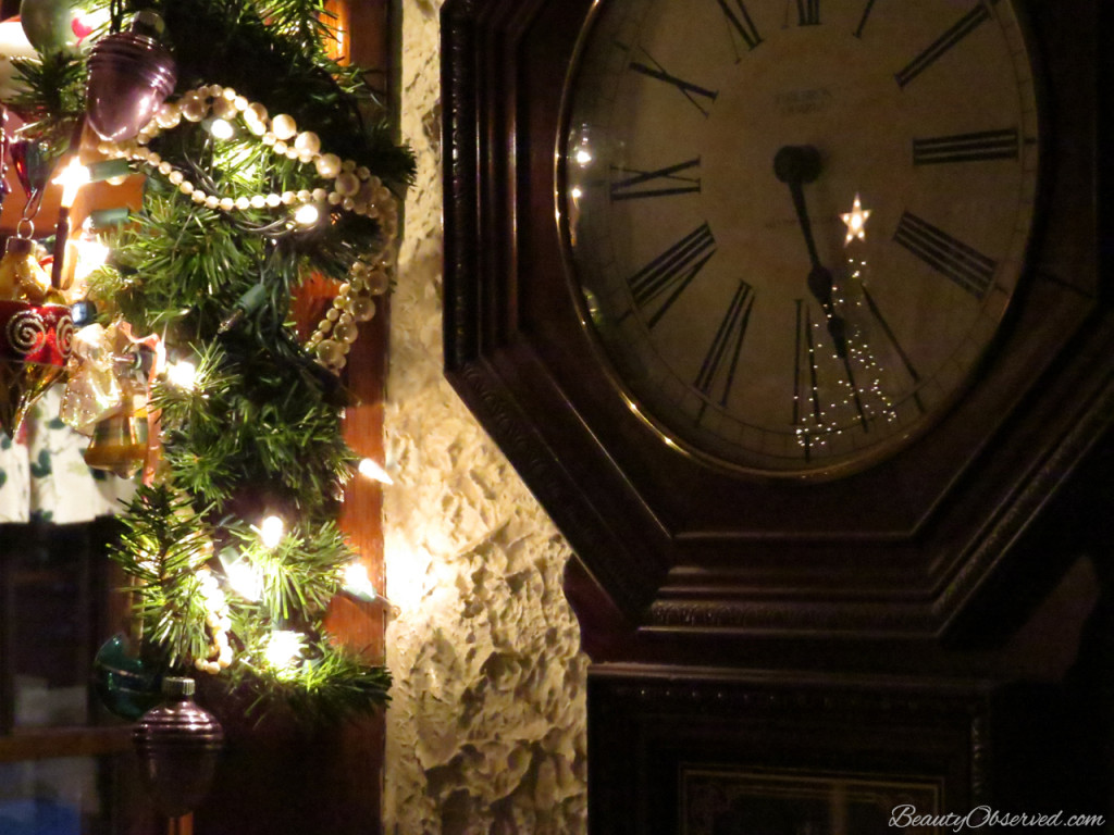 Christmas tree lights reflected in clock. www.beautyobserved.com  Shiny and bright