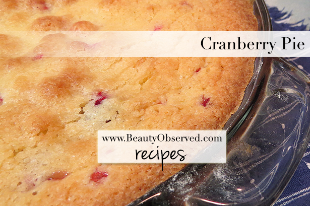 Cranberry pie recipe. Free downloadable recipe.  It's what our family eats on Christmas morning.