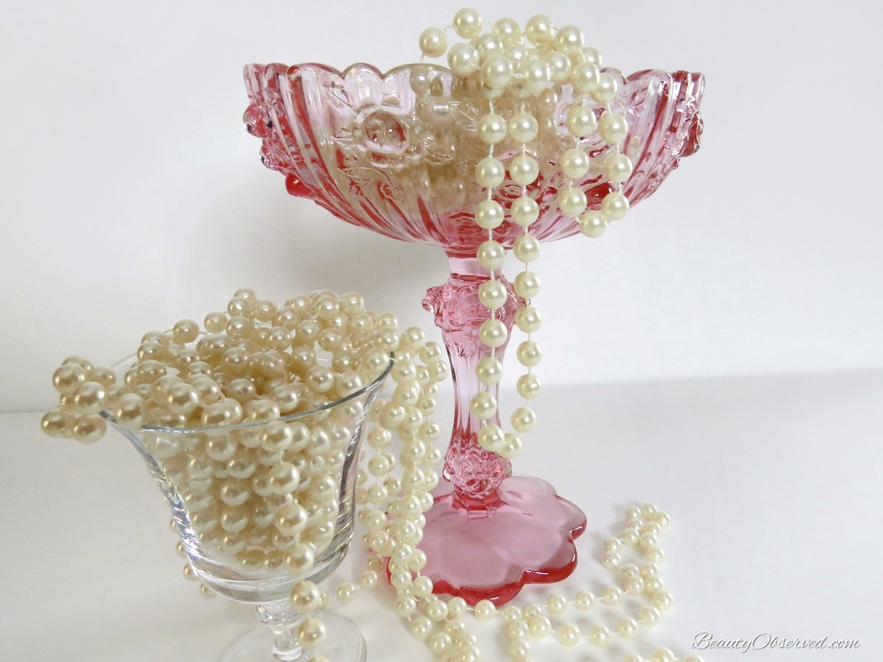 Pink Candy Dish with Pearls