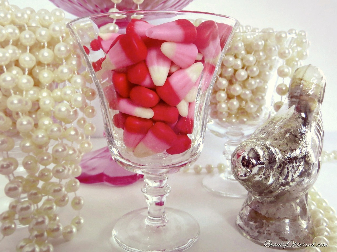 Pearls and Candy in Glass Dishes