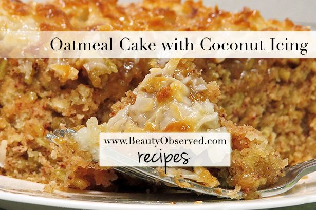 Oatmeal cake with coconut icing recipe.  Easy and delicious!