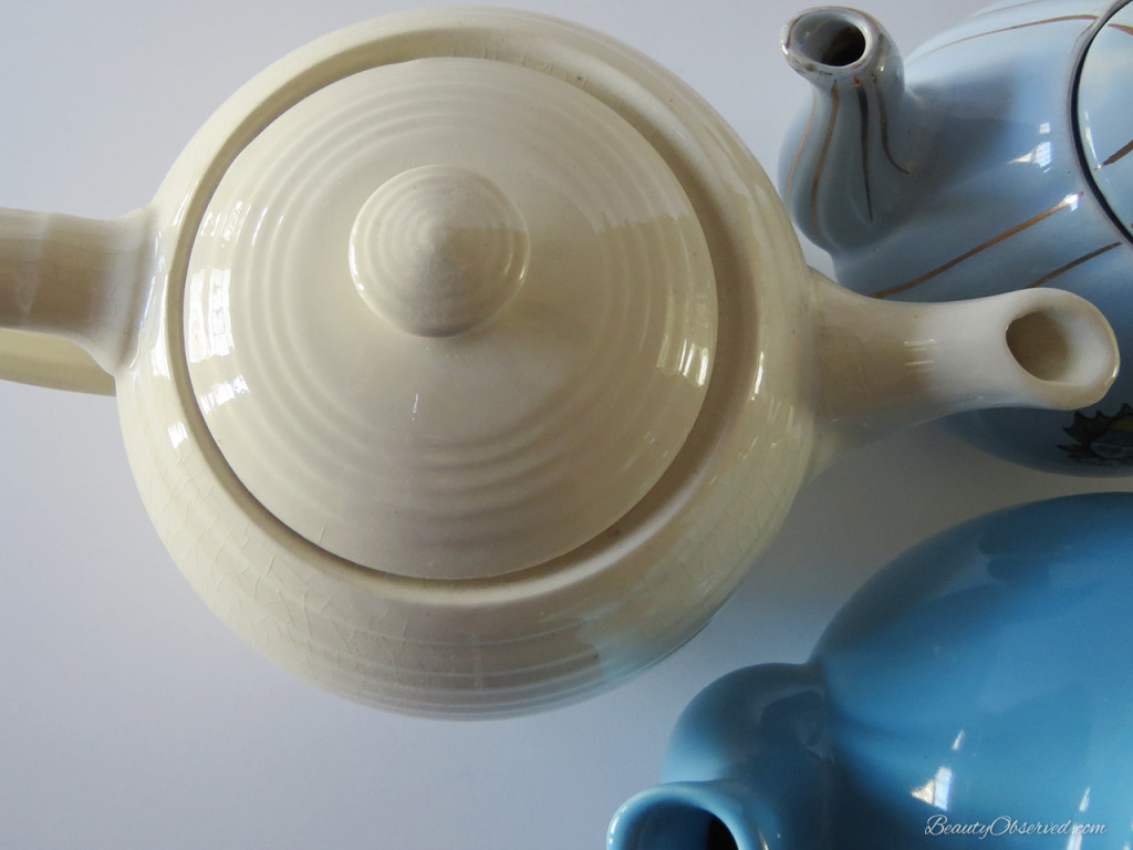 cream turquoise blue teapots #beautyobserved  #tea  #teapots