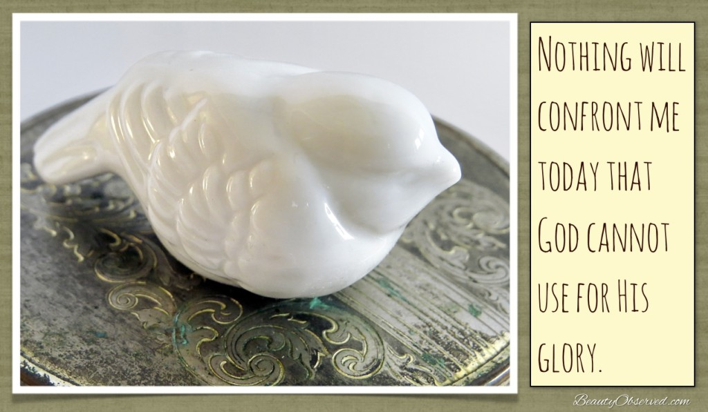 Nothing will confront you today that God cannot use for His glory. Porcelain bird with patina metal case.