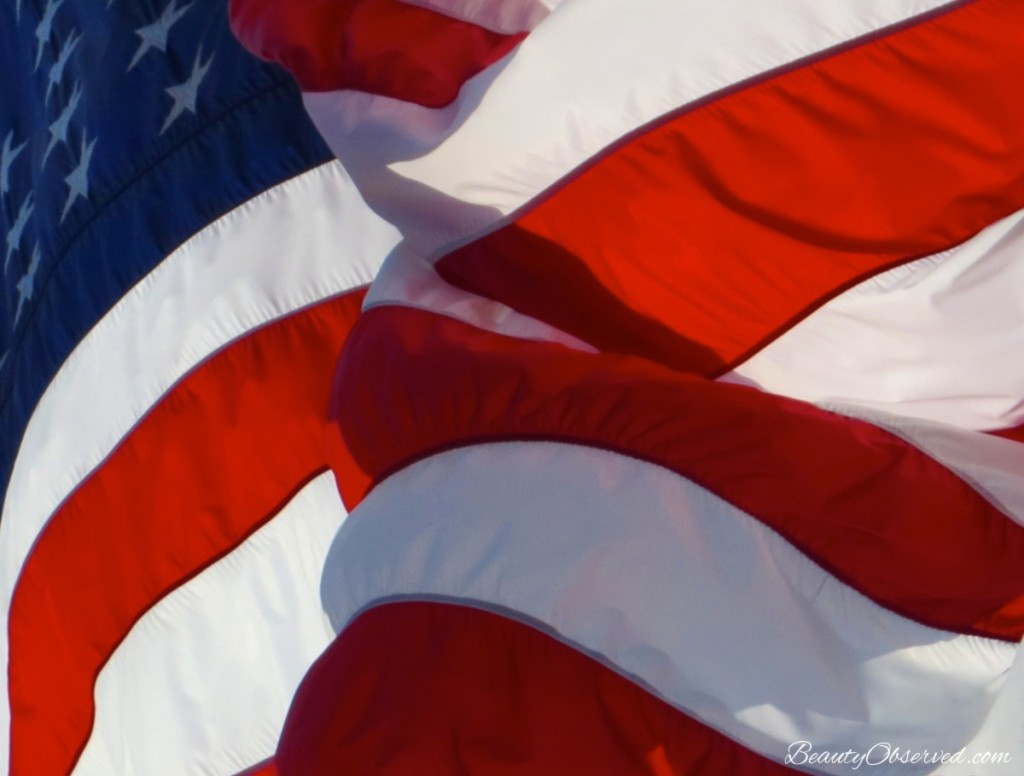 Red, white, and blue American flag