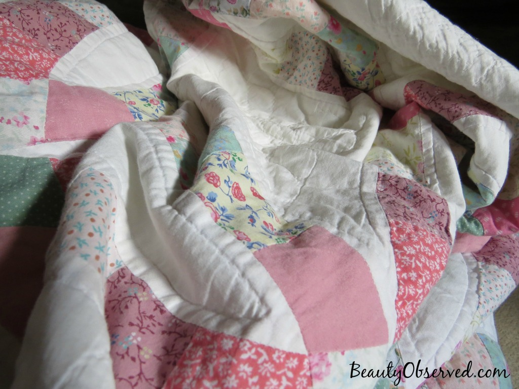 I will lay down in peace.  Psalm 4:8 pink, yellow, white quilt from Beauty Observed